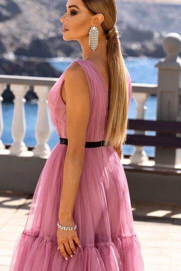Sukienki wieczorowe Emo Paris tiulowa zwiewna kloszowana midi kloszowana sukienka