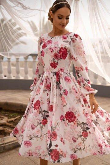 Sukienki codzienne EMO Madlen zwiewna sukienka w kwiaty kloszowana sukienka