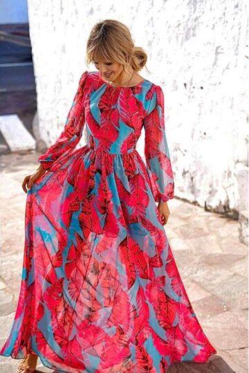 Sukienki codzienne Emo Linda szyfonowa maxi sukienka Długa sukienka