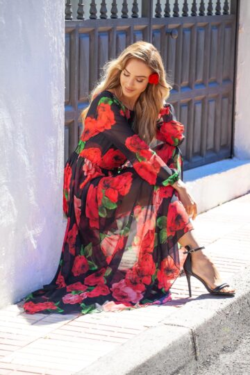Sukienki codzienne Emo Linda szyfonowa maxi sukienka Róże Długa sukienka