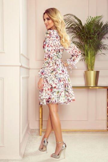 Sukienki codzienne Zoe zwiewna midi sukienka w kwiaty chabrowa sukienka
