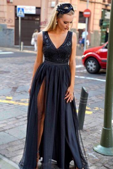 Sukienki wieczorowe EMO CHARLOTTE czarna wieczorowa maxi kloszowana sukienka