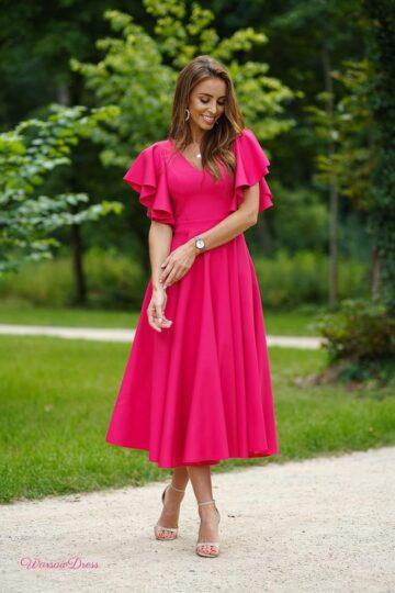 Sukienki wieczorowe Lora kloszowana kobieca sukienka fuksja kloszowana sukienka