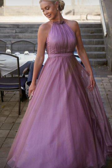 Sukienki wieczorowe EMO Ola kobieca tiulowa pudrowy róż kloszowana sukienka