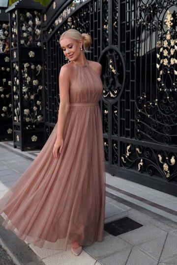 Sukienki wieczorowe EMO Ola kobieca tiulowa cappuccino kloszowana sukienka